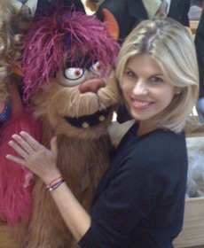 With Trekkie Monster on first day of 'Avenue Q' rehearsals in NYC